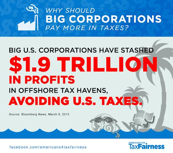 Why Should Big Corporations Pay More in Taxes? They Have Stashed $1.9 Trillion in Profits in Offshore Tax Havens, Avoiding U.S. Taxes.