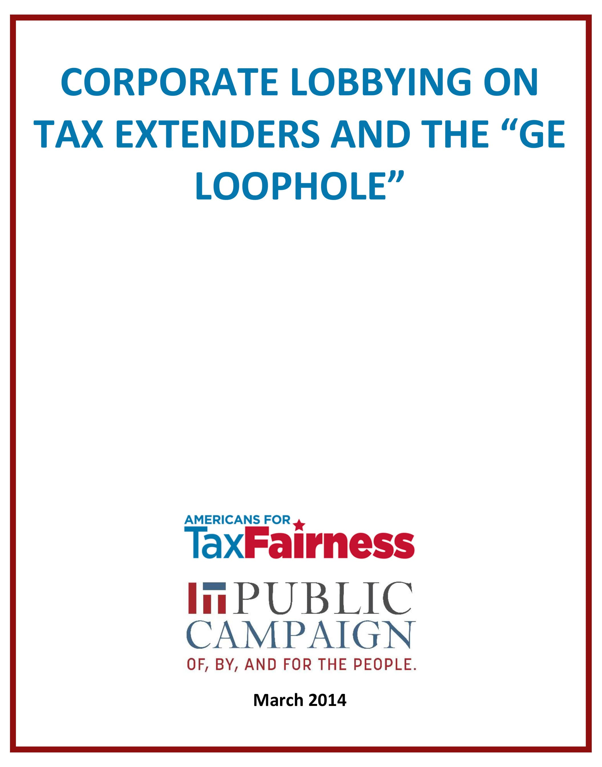 Corporate Lobbying on Tax Extenders and the 'GE Loophole' cover
