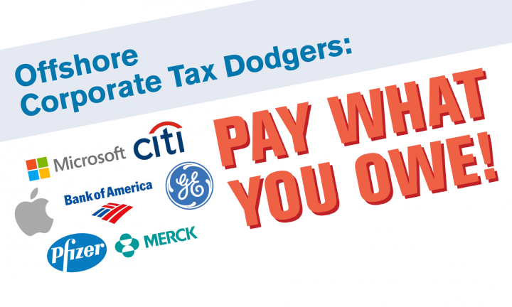 Offshore Corporate Tax Dodgers Banner with corporate names