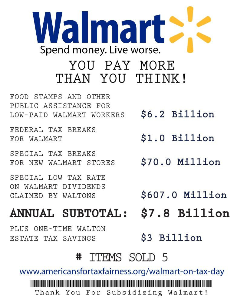 Your receipt for Walmart's 2013 tax breaks and tax subsidies. Total: $7.8 billion.
