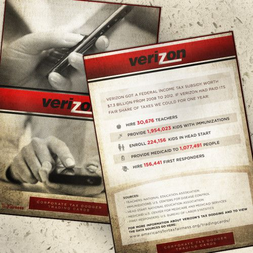 Corporate Tax Dodger Trading Cards: Verizon