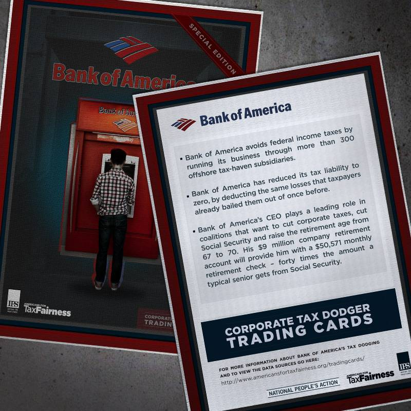 Corporate Tax Dodger Trading Cards: Bank of America