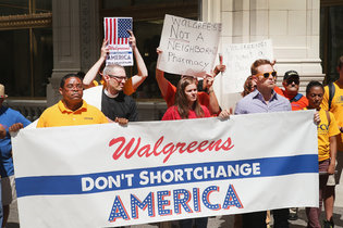 Organizing in front of Walgreens in Illinois